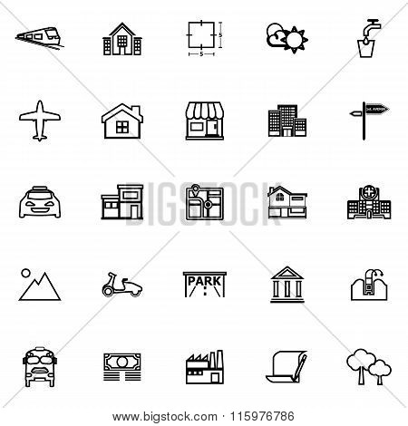 Real Estate Line Icons On White Background