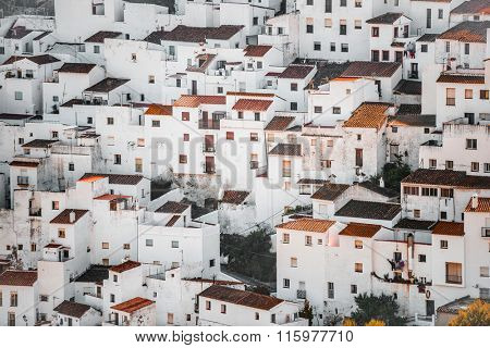 background of traditional little white houses Spanish village