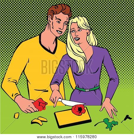 Couple cooking together  pop art comics retro style with Halftone