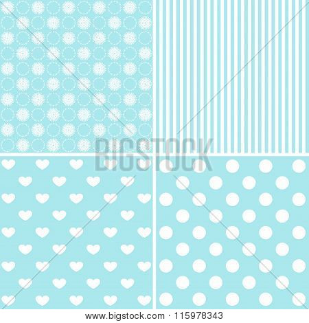 Set Of 4 Background Patterns In Pale Blue.