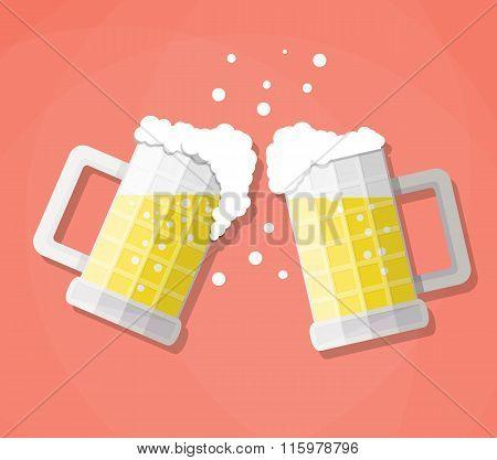clink beer mugs