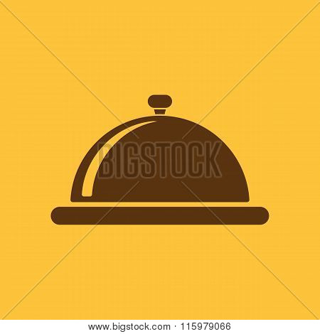 The tray station icon. Breakfast and lunch, dinner, restaurant symbol. Flat