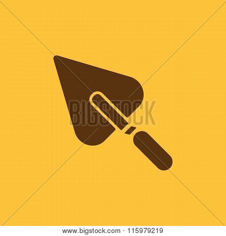 The trowel icon. Mason and building, repair, plasterer symbol. Flat