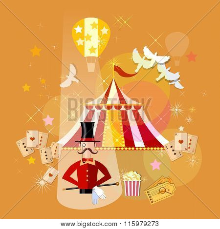 Circus Magician Performance Magic Show Vector Illustration