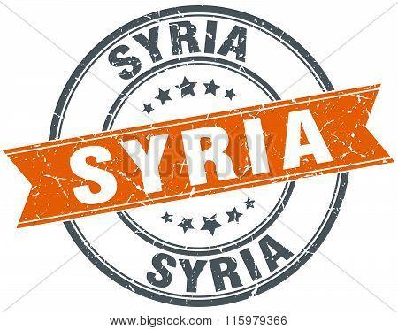 Syria orange round grunge vintage ribbon stamp