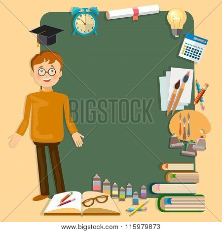 Back To School Education Schoolboy School Board Classroom Vector Illustration