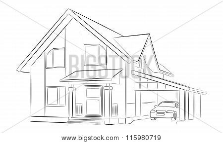 Sketch Of A Private House