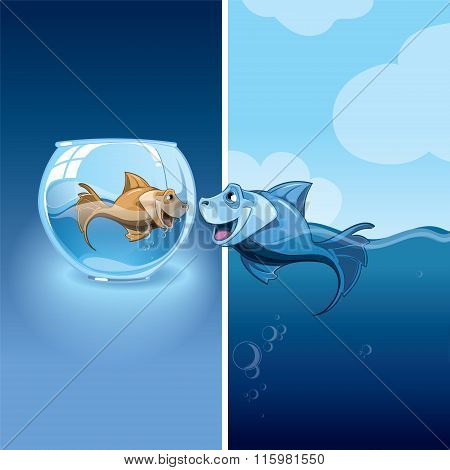 Love between two small fishes