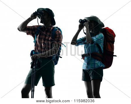 couple trekker nature silhouette Photographing