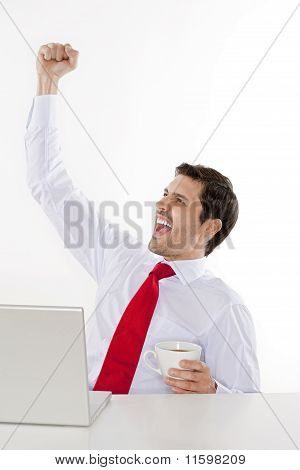 Businessman Cheering