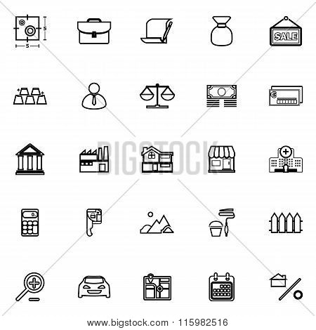 Mortgage And Home Loan Line Icons On White Background