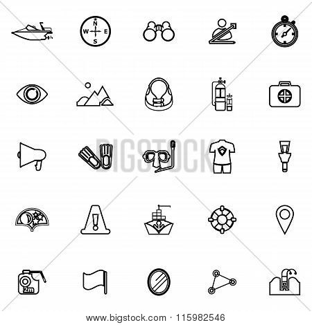 Waterway Related Line Icons On White Background