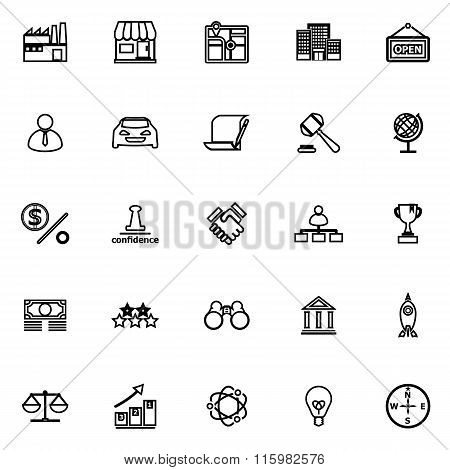 Franchise Line Icons On White Background