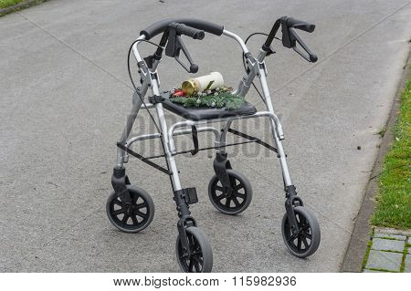 Rollator Walker With Grave Candle