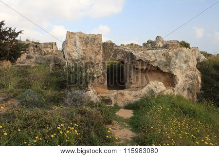 Overgrown With Grass Ruins To The Tombs Of The Kings Paphos. Cyprus