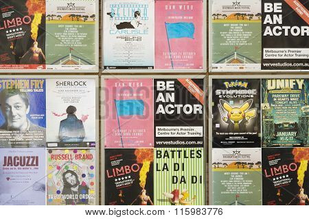 Event posters on a wall