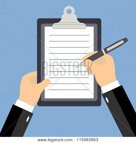 Business Man Hands Signing Business Contract, Flat Style Vector Illustration