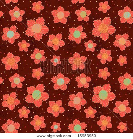 Doodle flowers. Spiral middle. Seamless pattern.