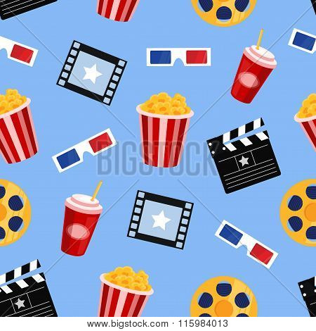 cinema elements vector seamless pattern