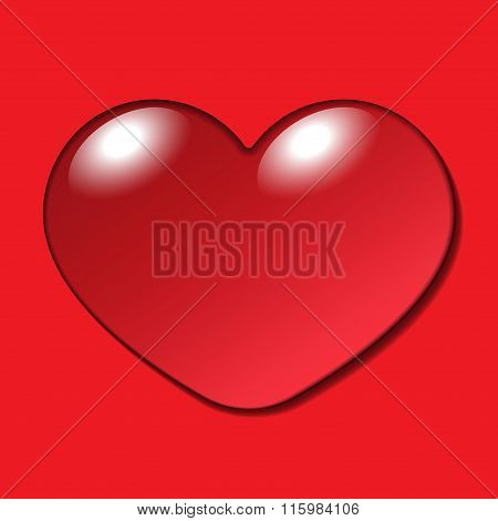 Water Heart Drop On Red Background