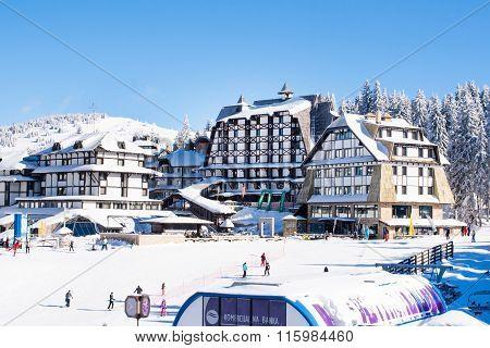 Panorama of ski resort Kopaonik, Serbia, hotels, restaurants, people walking and skiing