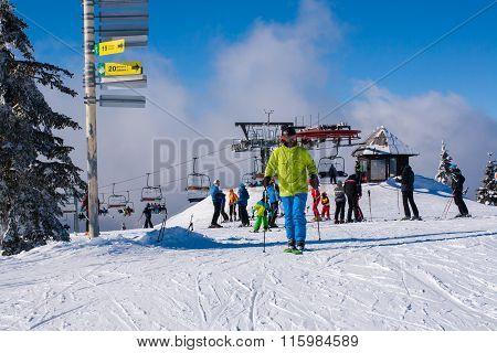 Ski resort Kopaonik, Serbia, ski lift, slope, people skiing