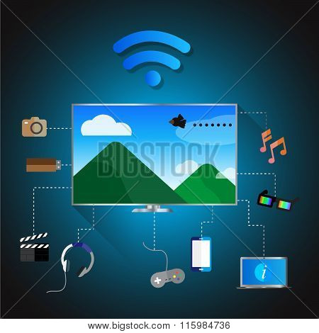 Vector Illustrator, Modern Television Sync On Wi-fi With Media Tools.