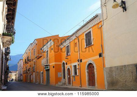 CORFINIO ITALY - SEPTEMBER 06 2015: View of the ancient town - Corfinio L'Aquila in the region of Abruzzo - Italy