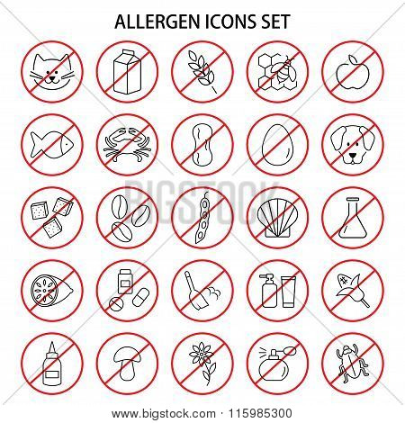 Set Of Allergen Free Products Icons. Insects And Wool, Dust And Medicine And Odor. Vector Illustrati