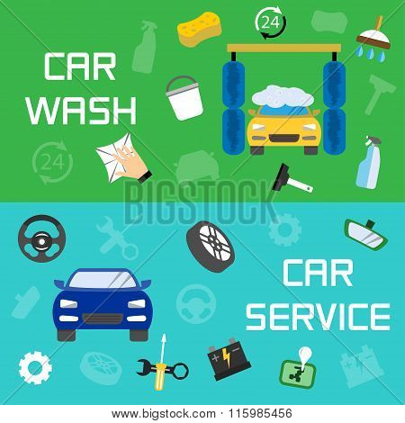 Car Wash And Service Banners, Vector Illustration
