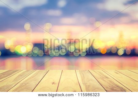 Bokeh Wood Floor