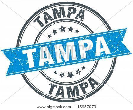 Tampa blue round grunge vintage ribbon stamp