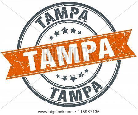 Tampa orange round grunge vintage ribbon stamp