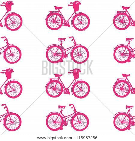 Hand-drawn Illustrations. Pink Bike. Seamless Pattern.