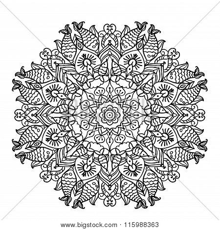 circular pattern mandala with elements of ethnic animal style coloring page outline vector