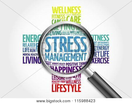 Stress Management word cloud with magnifying glass, health concept