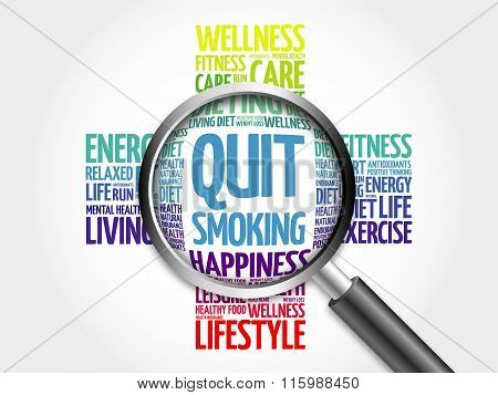 Quit Smoking word cloud with magnifying glass, health concept