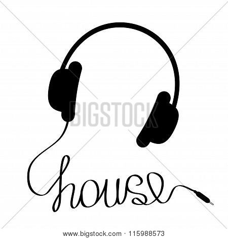Black Headphones With Cord In Shape Of Word House. Music Card.