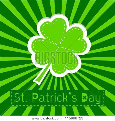 Paper Clover Leaf. Sunburst Background. Happy St Patricks Day.
