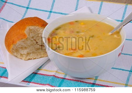 Homemade fish chowder soup.