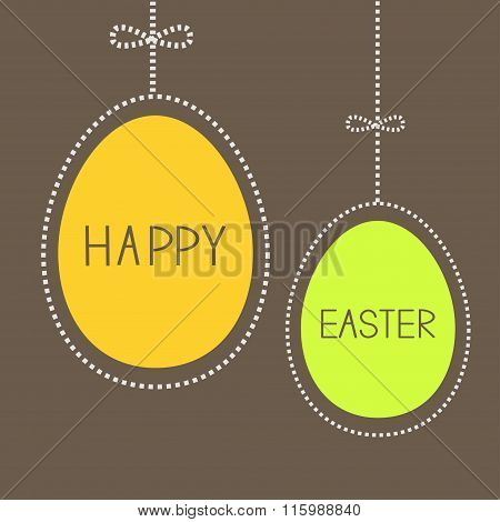 Hanging Easter Eggs With Dash Line And Bow. Brown Background.