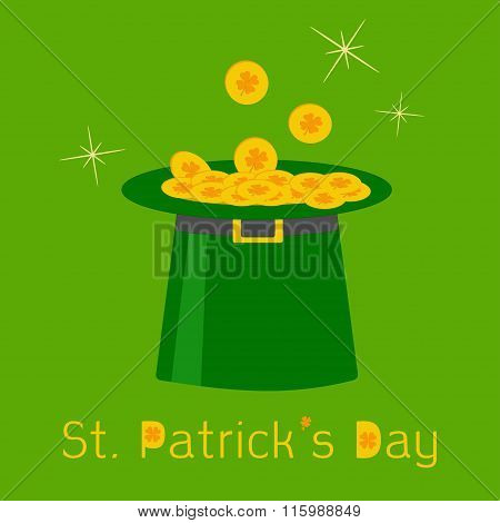 Green Leprechaun  Hat With Gold Clover Lucky Coins. Happy St.pat