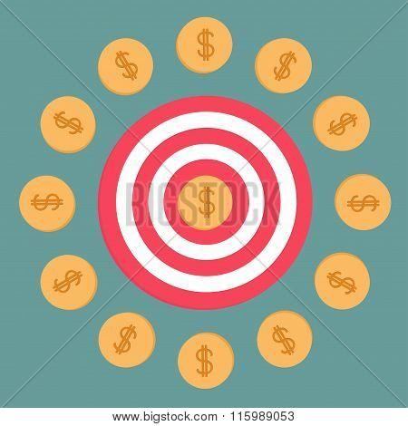 Target And Dollar Coins. Flat Design.