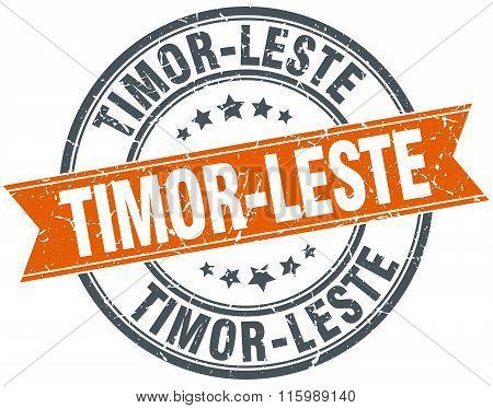 Timor-leste Red Round Grunge Vintage Ribbon Stamp