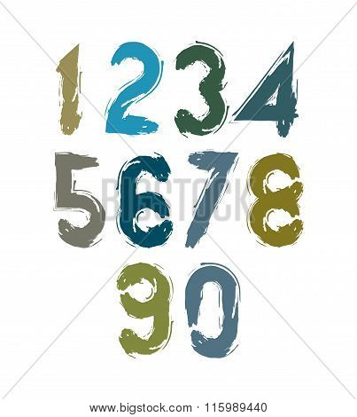 Vector Stylish Brush Digits, Handwritten Numerals, Sans Serif Numbers Set On White Background.