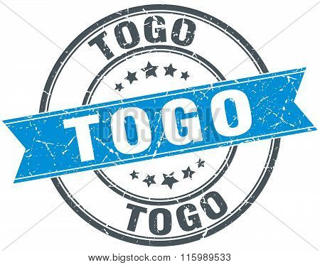 Togo Blue Round Grunge Vintage Ribbon Stamp