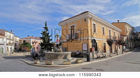 Corfinio, Italy - September 06,2015: View Of The Ancient Town - Corfinio, L'aquila, In The Region Of