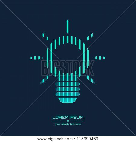 Abstract Creative concept vector icon of bulb for Web and Mobile Applications isolated on background