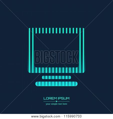 Abstract Creative concept vector icon of monitor for Web and Mobile Applications isolated on backgro