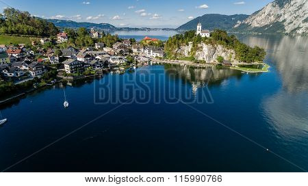 Traunsee Summer Lake (austria). Aerial View